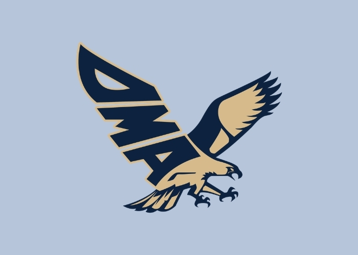 the blue and gold dma seahawk logo on a blue background