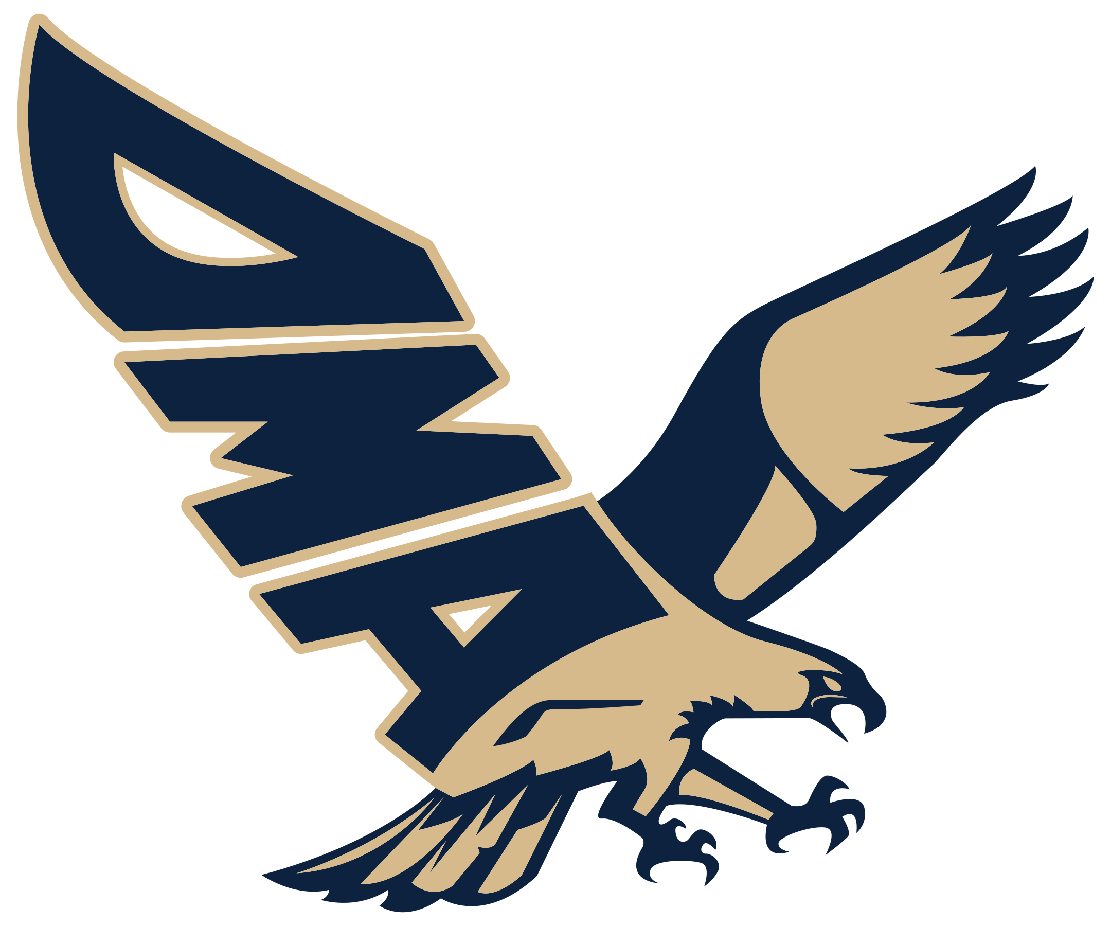 delaware military academy seahawk blue and gold logo