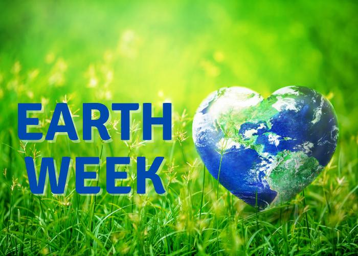 earth week with a heart shaped earth