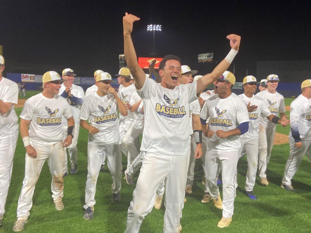 DMA baseball players celebrating winning the championship